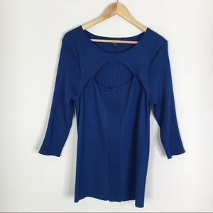 Lane Bryant Blue Ribbed Knit Open Bust Sweater Top
